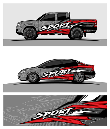 pickup Truck Graphic vector. abstract racing shape design for vehicle vinyl wrap