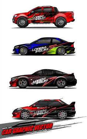 set of vehicle graphic kit vector. Modern abstract background for car wrap branding and automobile sticker decals livery Stok Fotoğraf - 148079603