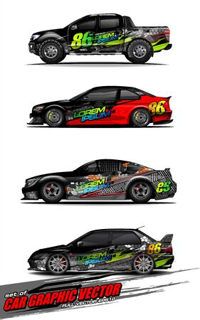 set of vehicle graphic kit vector. Modern abstract background for car wrap branding and automobile sticker decals livery 스톡 콘텐츠 - 148079610