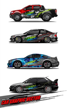 set of vehicle graphic kit vector. Modern abstract background for car wrap branding and automobile sticker decals livery 스톡 콘텐츠 - 148079608