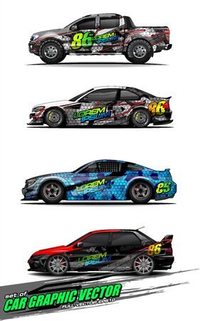 set of vehicle graphic kit vector. Modern abstract background for car wrap branding and automobile sticker decals livery 스톡 콘텐츠 - 148079611