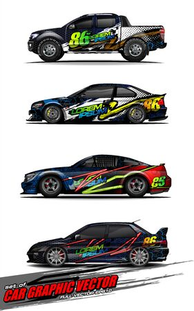 set of vehicle graphic kit vector. Modern abstract background for car wrap branding and automobile sticker decals livery 스톡 콘텐츠 - 149098986