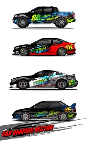 set of vehicle graphic kit vector. Modern abstract background for car wrap branding and automobile sticker decals livery Stok Fotoğraf - 149098988