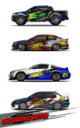 set of vehicle graphic kit vector. Modern abstract background for car wrap branding and automobile sticker decals livery Stok Fotoğraf - 149098992