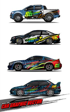 set of vehicle graphic kit vector. Modern abstract background for car wrap branding and automobile sticker decals livery 스톡 콘텐츠 - 149098996