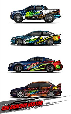 set of vehicle graphic kit vector. Modern abstract background for car wrap branding and automobile sticker decals livery Stok Fotoğraf - 149098998