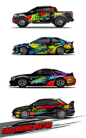 set of vehicle graphic kit vector. Modern abstract background for car wrap branding and automobile sticker decals livery