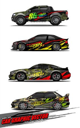 set of vehicle graphic kit vector. Modern abstract background for car wrap branding and automobile sticker decals livery Stok Fotoğraf - 149099007