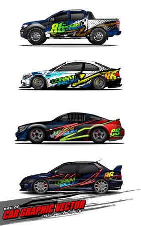 set of vehicle graphic kit vector. Modern abstract background for car wrap branding and automobile sticker decals livery 스톡 콘텐츠 - 149099010