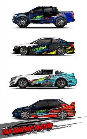 set of vehicle graphic kit vector. Modern abstract background for car wrap branding and automobile sticker decals livery 스톡 콘텐츠 - 147889723