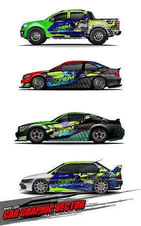 set of vehicle graphic kit vector. Modern abstract background for car wrap branding and automobile sticker decals livery 스톡 콘텐츠 - 147889731