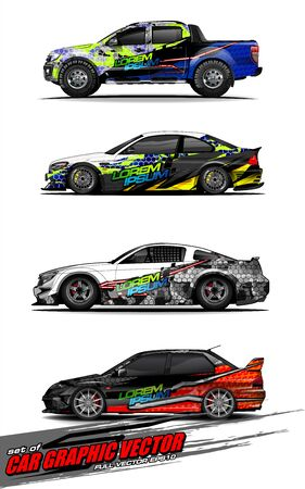 set of vehicle graphic kit vector. Modern abstract background for car wrap branding and automobile sticker decals livery Stok Fotoğraf - 147889734