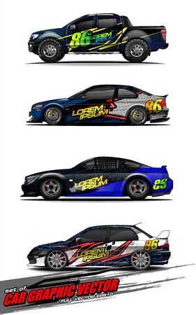 set of vehicle graphic kit vector. Modern abstract background for car wrap branding and automobile sticker decals livery 스톡 콘텐츠 - 147889737