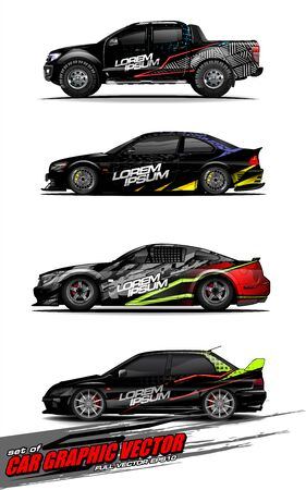 set of vehicle graphic kit vector. Modern abstract background for car wrap branding and automobile sticker decals livery Stok Fotoğraf - 147889736