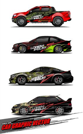set of vehicle graphic kit vector. Modern abstract background for car wrap branding and automobile sticker decals livery 스톡 콘텐츠 - 147889738