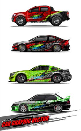 set of vehicle graphic kit vector. Modern abstract background for car wrap branding and automobile sticker decals livery Stok Fotoğraf - 147427188