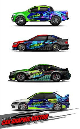 set of vehicle graphic kit vector. Modern abstract background for car wrap branding and automobile sticker decals livery 스톡 콘텐츠 - 147427191