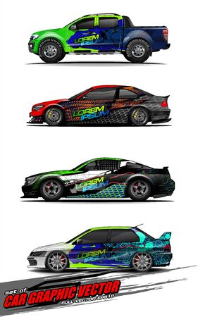 set of vehicle graphic kit vector. Modern abstract background for car wrap branding and automobile sticker decals livery Stok Fotoğraf - 147427193