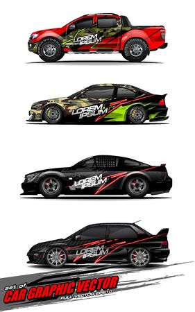 set of vehicle graphic kit vector. Modern abstract background for car wrap branding and automobile sticker decals livery Stok Fotoğraf - 147427194