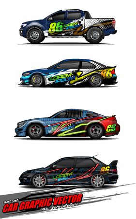 set of vehicle graphic kit vector. Modern abstract background for car wrap branding and automobile sticker decals livery Vector Illustratie