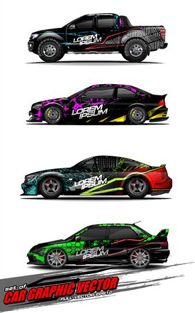 set of vehicle graphic kit vector. Modern abstract background for car wrap branding and automobile sticker decals livery Stok Fotoğraf - 147427198