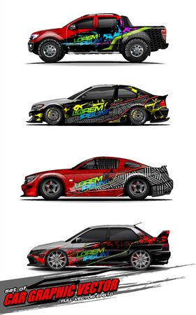 set of vehicle graphic kit vector. Modern abstract background for car wrap branding and automobile sticker decals livery Stok Fotoğraf - 147427201