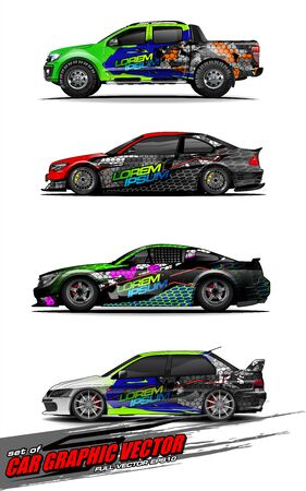 set of vehicle graphic kit vector. Modern abstract background for car wrap branding and automobile sticker decals livery Stok Fotoğraf - 147427209