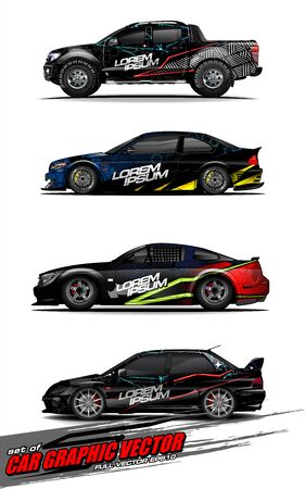 set of vehicle graphic kit vector. Modern abstract background for car wrap branding and automobile sticker decals livery Stok Fotoğraf - 147427210