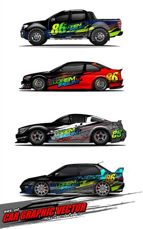 set of vehicle graphic kit vector. Modern abstract background for car wrap branding and automobile sticker decals livery 스톡 콘텐츠 - 147427235