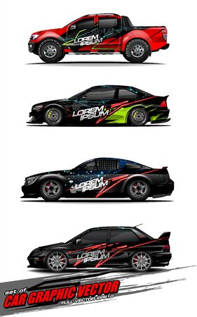 set of vehicle graphic kit vector. Modern abstract background for car wrap branding and automobile sticker decals livery 스톡 콘텐츠 - 147427237
