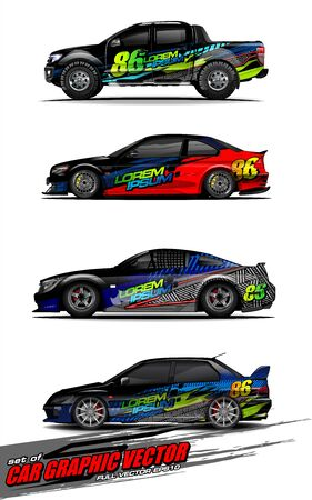set of vehicle graphic kit vector. Modern abstract background for car wrap branding and automobile sticker decals livery Stok Fotoğraf - 147427238