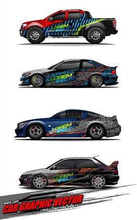 set of vehicle graphic kit vector. Modern abstract background for car wrap branding and automobile sticker decals livery Stok Fotoğraf - 147427241