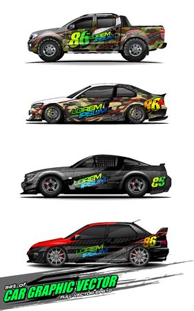 set of vehicle graphic kit vector. Modern abstract background for car wrap branding and automobile sticker decals livery Stok Fotoğraf - 147427246