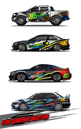 set of vehicle graphic kit vector. Modern abstract background for car wrap branding and automobile sticker decals livery Stok Fotoğraf - 147427248