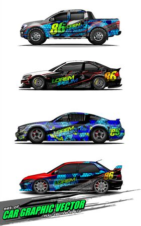 set of vehicle graphic kit vector. Modern abstract background for car wrap branding and automobile sticker decals livery Stok Fotoğraf - 147427251