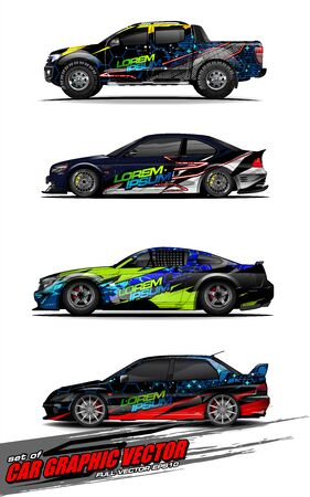 set of vehicle graphic kit vector. Modern abstract background for car wrap branding and automobile sticker decals livery 스톡 콘텐츠 - 147427255