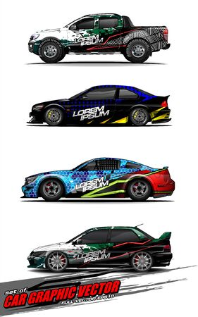 set of vehicle graphic kit vector. Modern abstract background for car wrap branding and automobile sticker decals livery 스톡 콘텐츠 - 147427256