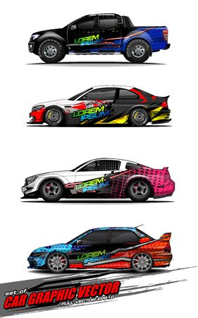 set of vehicle graphic kit vector. Modern abstract background for car wrap branding and automobile sticker decals livery 스톡 콘텐츠 - 149099008