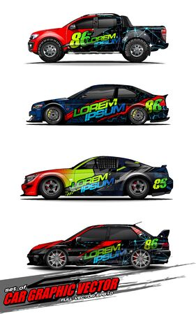 set of vehicle graphic kit vector. Modern abstract background for car wrap branding and automobile sticker decals livery Stok Fotoğraf - 149099018