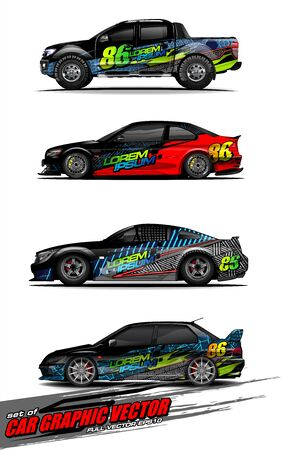 set of vehicle graphic kit vector. Modern abstract background for car wrap branding and automobile sticker decals livery Stok Fotoğraf - 149099022