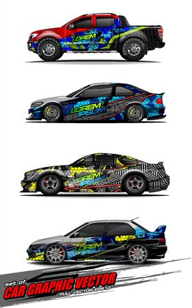 set of vehicle graphic kit vector. Modern abstract background for car wrap branding and automobile sticker decals livery 스톡 콘텐츠 - 149299830