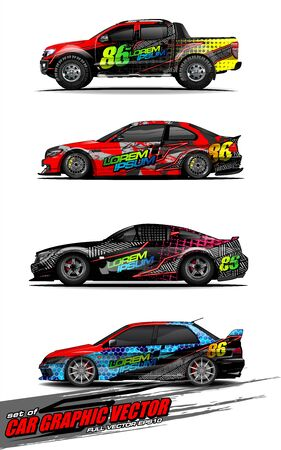 set of vehicle graphic kit vector. Modern abstract background for car wrap branding and automobile sticker decals livery Stok Fotoğraf - 147899229
