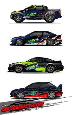 set of vehicle graphic kit vector. Modern abstract background for car wrap branding and automobile sticker decals livery Stok Fotoğraf - 147899226