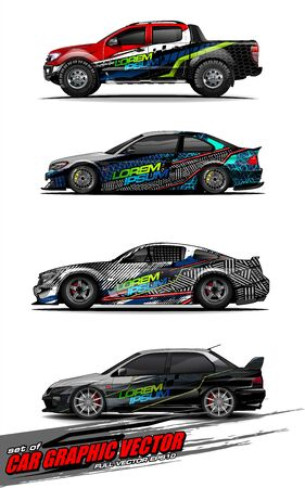 set of vehicle graphic kit vector. Modern abstract background for car wrap branding and automobile sticker decals livery Stok Fotoğraf - 147899227