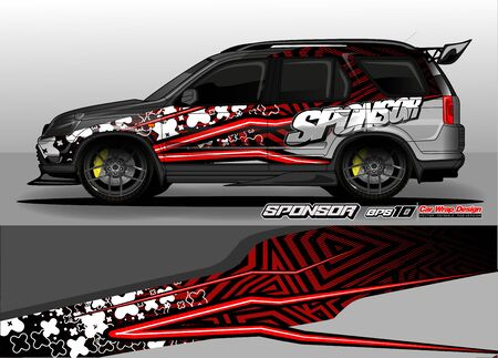 car graphic background vector. abstract race style livery design for vehicle vinyl sticker wrap