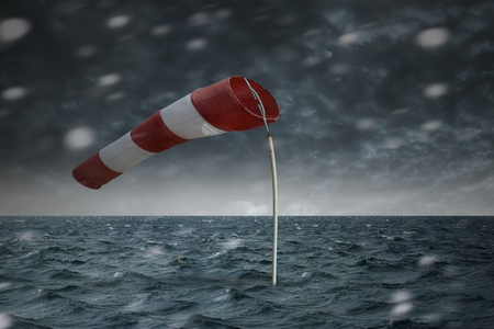 Windsock in the storm on the open sea
