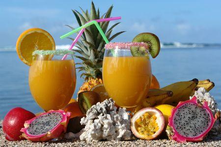fruit juice in glass decorate, degustatif cocktail on bottom lagoon