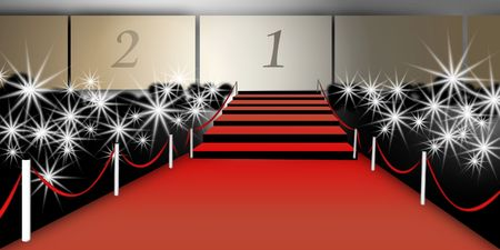 emphasized: acceuil stars, graphics representing a staircase and red carpet, flash of photographers,