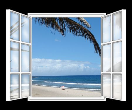beach window: seen on the sea, beach of dream through the window, symbolizes the holidays in the Tropics,