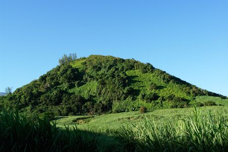 inactive: luxuriant vegetation of an inactive volcanic piton, Stock Photo